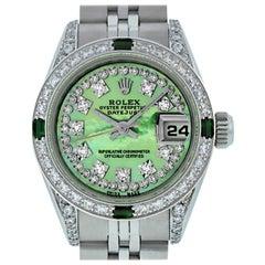 Rolex Women's Datejust Watch Steel/ 18 Karat Gold Green MOP String Diamond Dial
