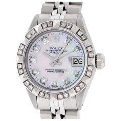 Rolex Women's Datejust Watch Steel / 18 Karat White Gold Pink MOP Diamond Dial