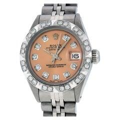 Rolex Women's Datejust Watch Steel / 18 Karat White Gold Salmon Diamond Dial