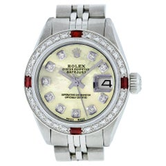 Rolex Women's Datejust Watch Steel / 18K White Gold Yellow MOP Diamond Dial Ruby