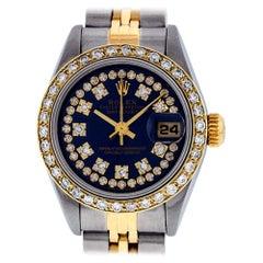 Rolex Women's Datejust Watch Steel / 18 Karat Gold Blue String Diamond Dial