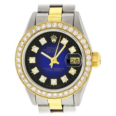Rolex Women's Datejust Watch Steel / 18 Karat Gold Blue Vignette Diamond Dial