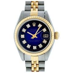 Rolex Women's Datejust Watch Steel or 18 Karat Gold Blue Vignette Diamond Dial