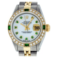 Rolex Women's Datejust Watch Steel / 18K Yellow Gold MOP Diamond/Emerald Dial