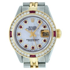 Rolex Women's Datejust Watch Steel / 18K Yellow Gold MOP Ruby / Diamond Dial