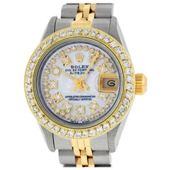 Rolex Women's Datejust Watch Steel / 18K Yellow Gold MOP String Diamond Dial