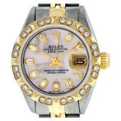 Rolex Women's Datejust Watch Steel/18K Yellow Gold Pink MOP Diamond Dial Pyramid