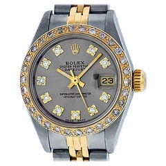Rolex Women's Datejust Watch Steel / 18 Karat Gold Slate Grey Diamond Dial