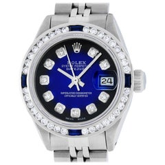 Rolex Women's Datejust Watch Steel or 18 Karat Gold Blue Vignette Diamond Dial