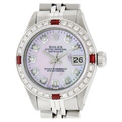 Rolex Women's Datejust Watch Steel or 18 Karat Gold Pink MOP Diamond Dial Ruby
