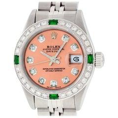 Rolex Women's Datejust Watch Steel or 18 Karat Gold Salmon Diamond Dial Emerald