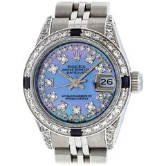 Rolex Women's Datejust Watch Steel or 18 Karat White Gold Blue MOP Diamond Dial