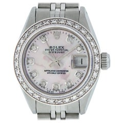 Rolex Women's Datejust Watch Steel or 18 Karat White Gold MOP Diamond Dial