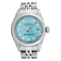 Rolex Women's Ice Blue Diamond Datejust White Gold Fluted Bezel Wristwatch