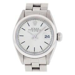 Rolex Women's Silver Index Datejust White Gold Fluted Bezel Wristwatch