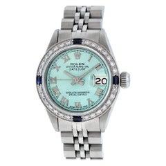 Rolex Women's Steel 18 Karat Gold Blue Diamond and Sapphire Datejust Wristwatch