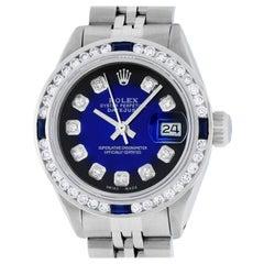 Rolex Women's Steel 18 Karat Gold Blue Vignette and Sapphire Datejust Wristwatch