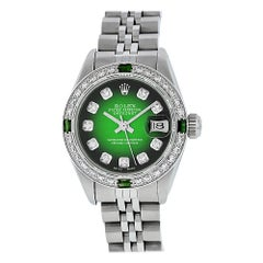 Rolex Women's Steel 18 Karat Green Vignette Diamond and Emerald Datejust Watch