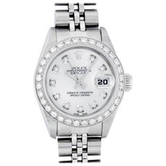 Rolex Women's Steel 18 Karat White Gold Silver Diamond Dial Datejust Wristwatch