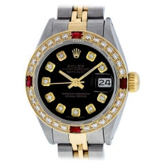 Rolex Women's Steel and Yellow Gold Black Diamond and Ruby Datejust Wristwatch