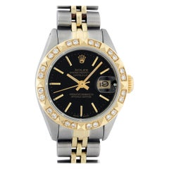 Rolex Women's Steel and Yellow Gold Black Index Diamond Datejust Wristwatch
