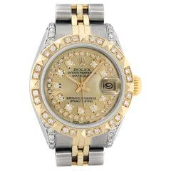 Rolex Women's Steel and Yellow Gold Champagne String Diamond Datejust Wristwatch