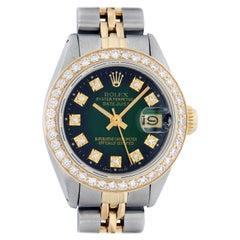 Rolex Women's Steel and Yellow Gold Green Vignette Diamond Datejust Wristwatch