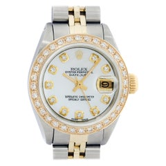 Rolex Women's Steel and Yellow Gold Mother of Pearl Diamond Datejust Wristwatch