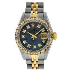 Rolex Women's Steel and Yellow Gold Tahitian Diamond Datejust Wristwatch