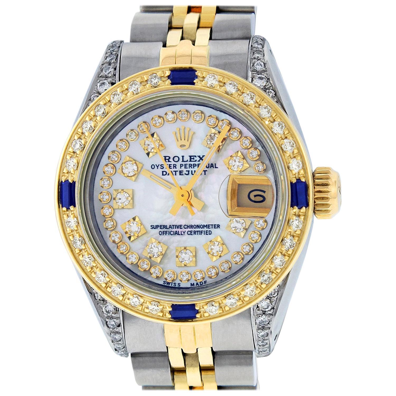 Rolex Women's Steel & Yellow Gold MOP Diamond & Sapphire Lugs Datejust Watch