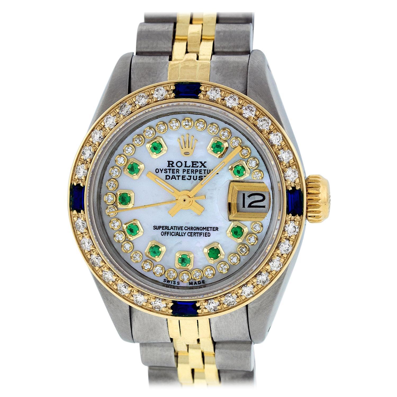 Rolex Women's Steel & Yellow Gold MOP Emerald Diamond & Sapphire Datejust Watch