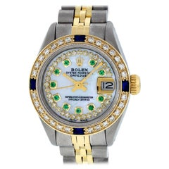 Rolex Women's Steel & Yellow Gold MOP Emerald Diamond & Sapphire Datejust Watch