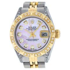 Rolex Women's Steel & Yellow Gold Pink MOP Diamond Lugs Datejust Wristwatch