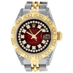 Rolex Women's Steel & Yellow Gold Red Vignette Diamond Lugs Datejust Wristwatch