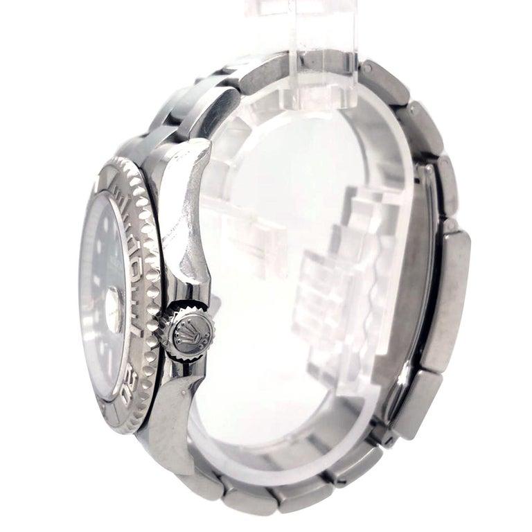 Modernist Rolex Yacht-Master 116622 Blue Dial Steel Platinum Bezel Men's Watch Papers Box For Sale