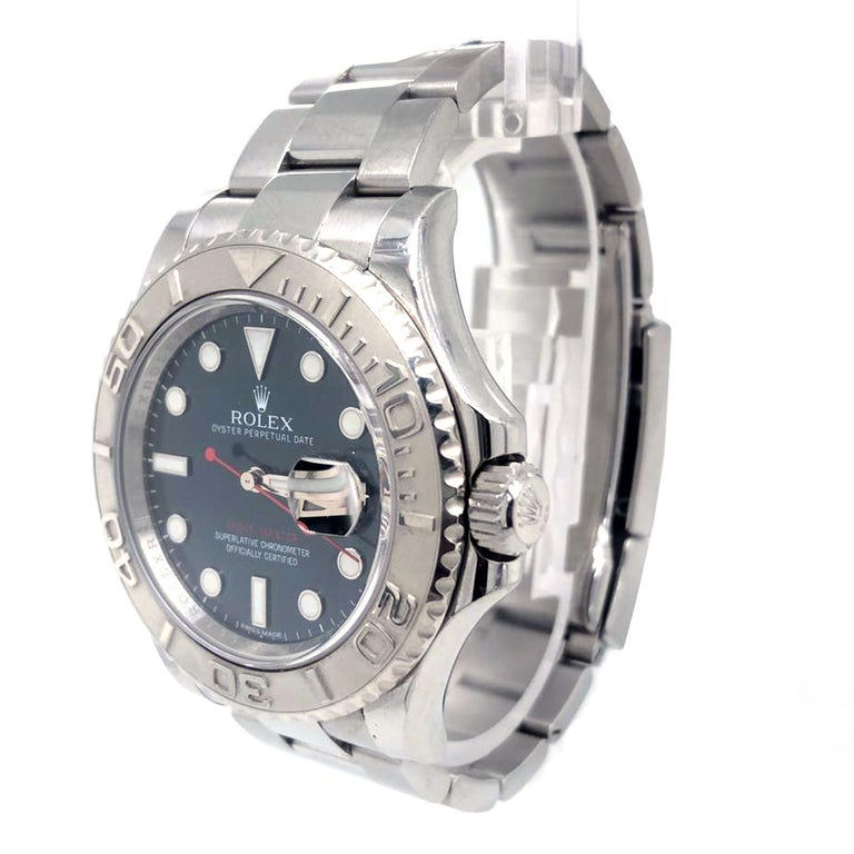Rolex Yacht-Master 116622 Blue Dial Steel Platinum Bezel Men's Watch Papers Box In Good Condition For Sale In Aventura, FL