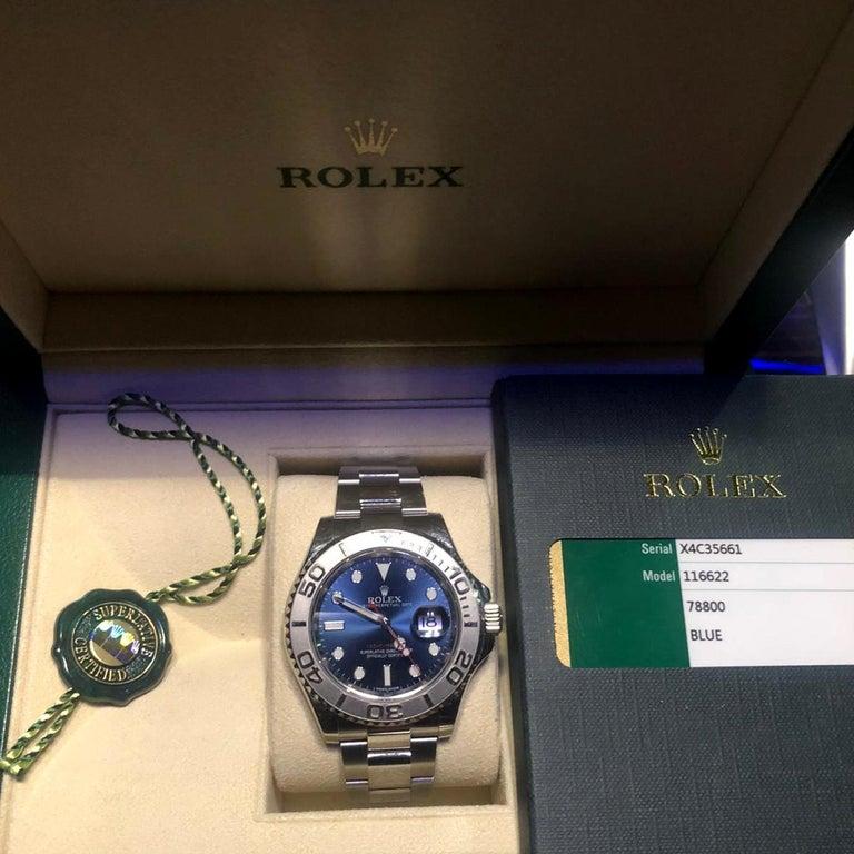 Rolex Yacht-Master 116622 Blue Dial Steel Platinum Bezel Men's Watch Papers Box For Sale 2