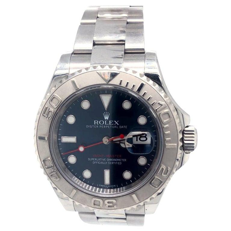 Rolex Yacht-Master 116622 Blue Dial Steel Platinum Bezel Men's Watch Papers Box For Sale