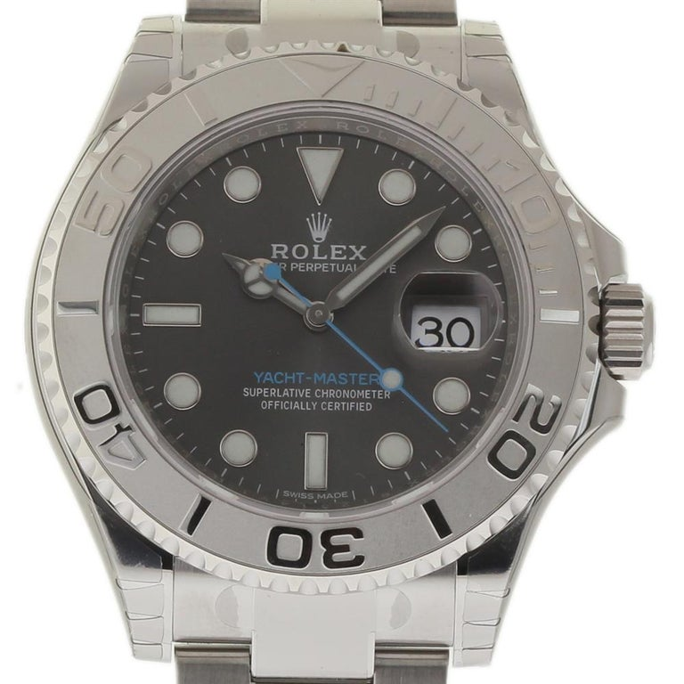 Rolex Yacht Master 116622 With Band Platinum Bezel And Silver Dial