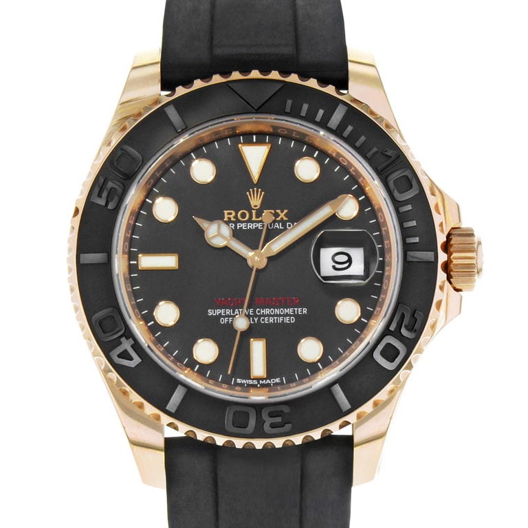 (18458) This pre-owned Rolex Yacht-Master 116655 is a beautiful timepiece that is powered by an automatic movement which is cased in a rose gold case. It has a round shape face, date dial and has hand sticks & dots style markers. It is completed