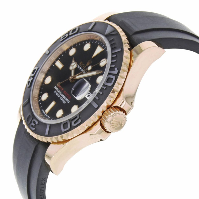 Rolex Yacht-Master 116655 Black Dial 18 Karat Rose Gold Automatic Men's Watch In Excellent Condition For Sale In New York, NY