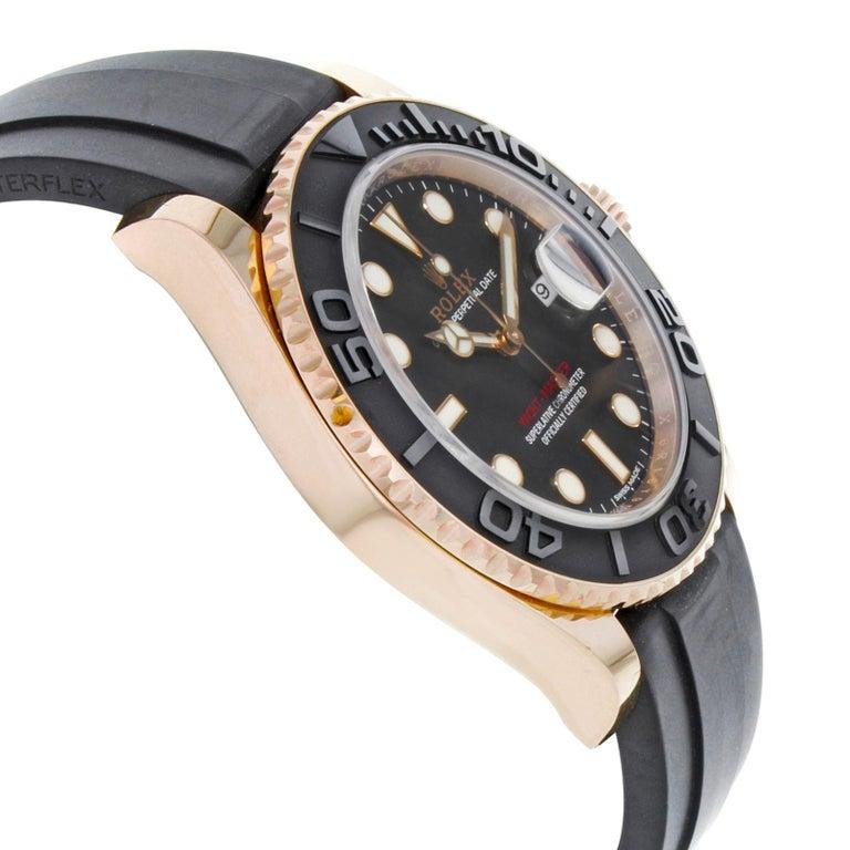 Rolex Yacht-Master 116655 Black Dial 18 Karat Rose Gold Automatic Men's Watch For Sale 1