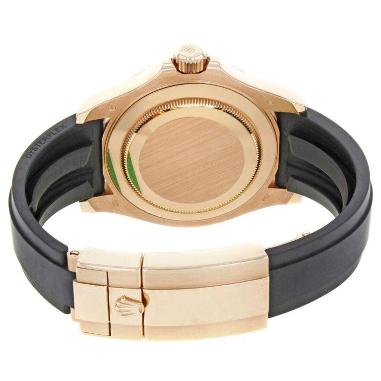 Rolex Yacht-Master 116655 Black Dial 18 Karat Rose Gold Automatic Men's Watch For Sale 2