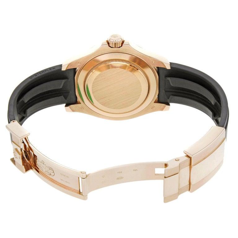 Rolex Yacht-Master 116655 Black Dial 18 Karat Rose Gold Automatic Men's Watch For Sale 3