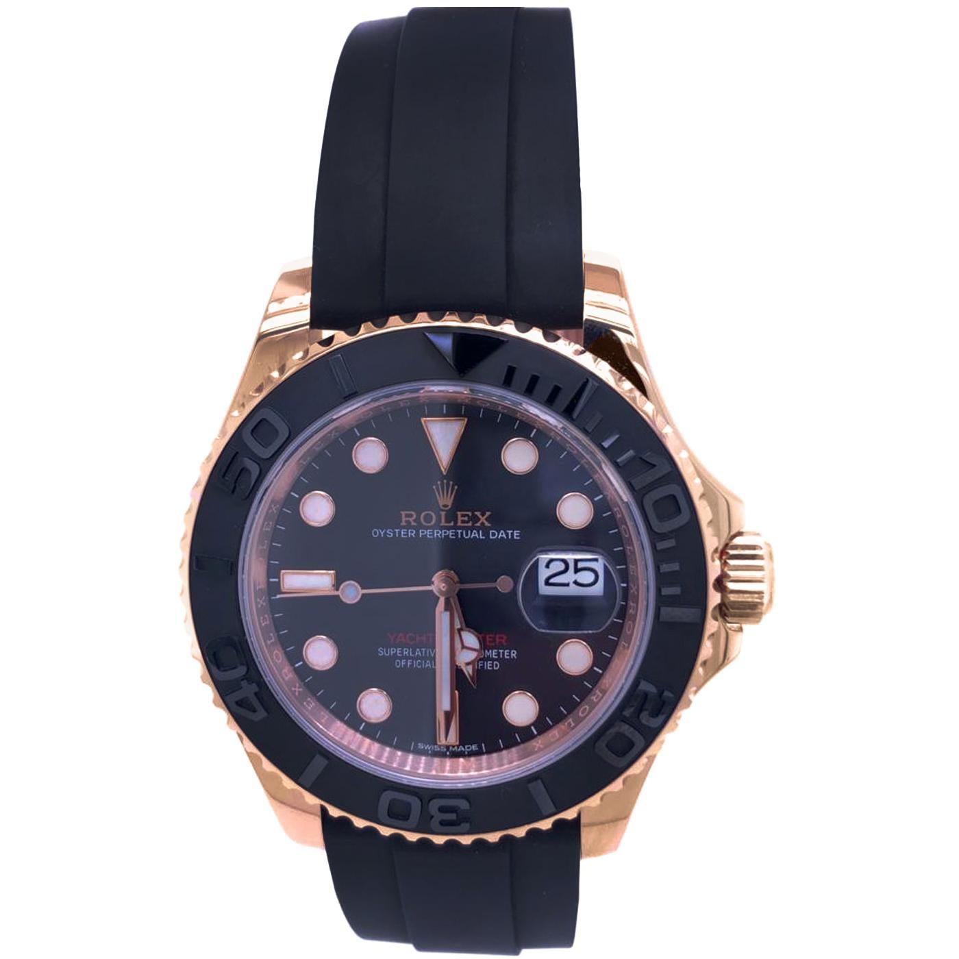 Rolex Yacht-Master 116655 Everose Gold Oysterflex Strap Automatic Watch