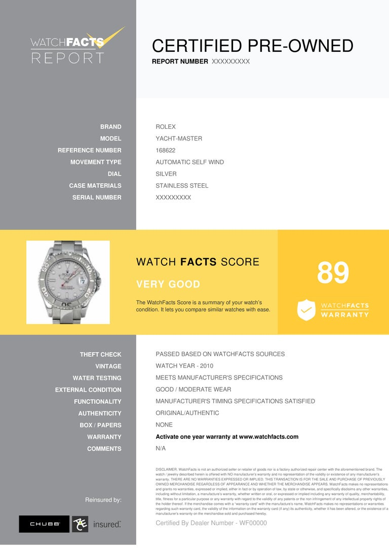 Rolex Yacht-Master Reference #:168622. __MISSING__. Verified and Certified by WatchFacts. 1 year warranty offered by WatchFacts.
