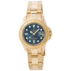 Rolex Yacht-Master 169628 Womens Automatic Watch Blue Dial 18 Karat Yellow Gold