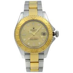 Rolex Yacht-Master 18 Karat Yellow Gold Steel Champagne Dial Unisex Watch 168623