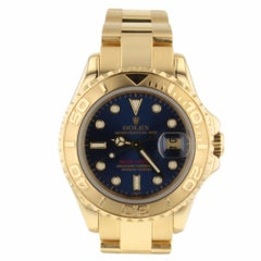 Rolex Yacht Master 18 Karat Yellow Gold Blue Dial 69628 Ladies Watch with Box