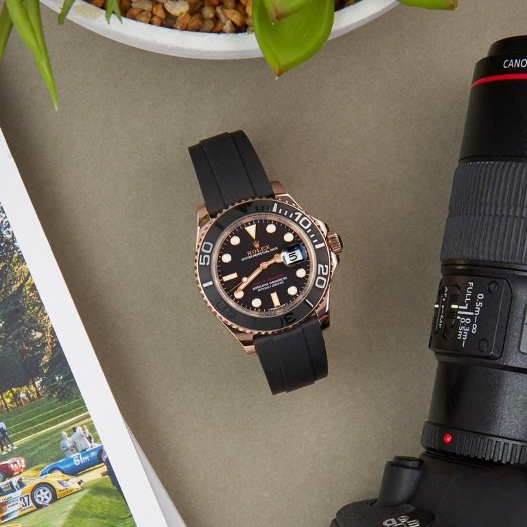 Rolex Yacht-Master 40 116655 Men's Rose Gold Oysterflex Watch For Sale 4